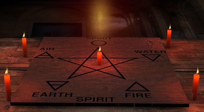Pagan Magic - Candles, Air, Fire, Water, Earth, Spirit - pentagram